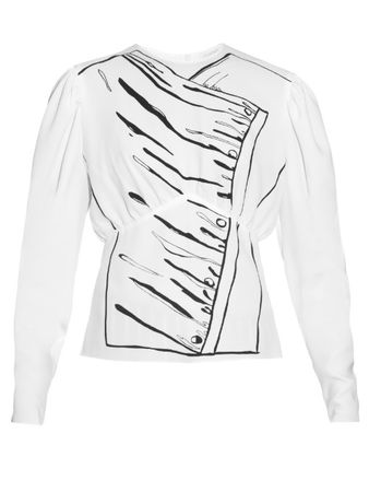 J. W. Anderson Printed puff-sleeved blouse white