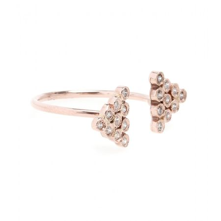 Jacquie Aiche 14kt Rose Gold Twin Diamond Triangle Ring white