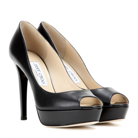 Jimmy Choo Dahlia Leather Peep-toe Pumps gray