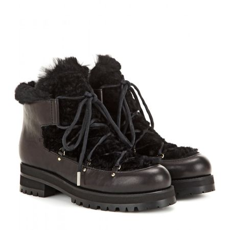 Jimmy Choo Ditto Fur-lined Leather Boots black