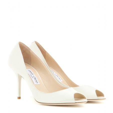 Jimmy Choo Evelyn Patent Leather Peep-toe Pumps white