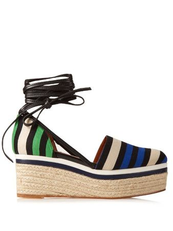 Lanvin Striped canvas espadrille wedge sandals brown