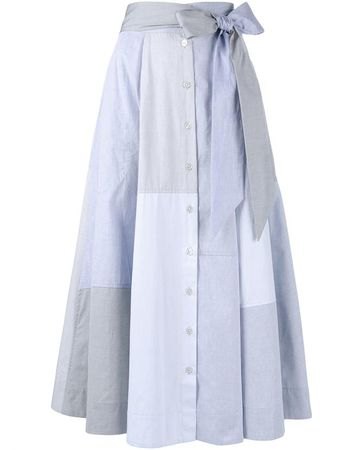 Lisa Marie Fernandez Cotton-Poplin Patchwork Skirt blue