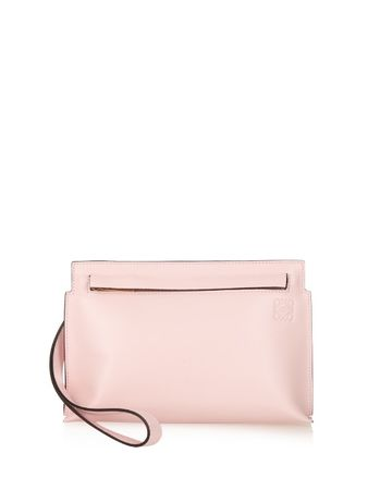 Loewe Small wristlet-strap leather pouch white