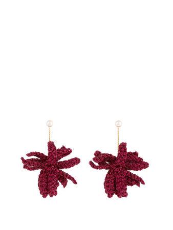 Lucy Folk Spritz crochet-flower and pearl earrings