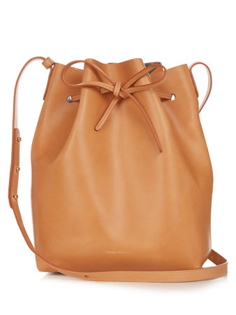Mansur Gavriel Metallic-silver lined leather bucket bag