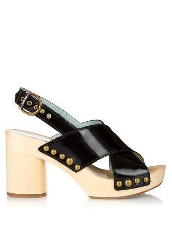 Marc Jacobs Linda leather and wooden clogs beige