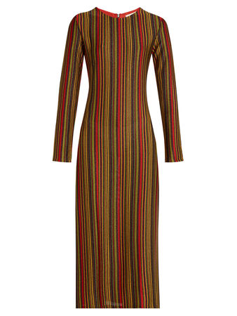 Marco de Vincenzo Metallic-stripes round-neck midi dress