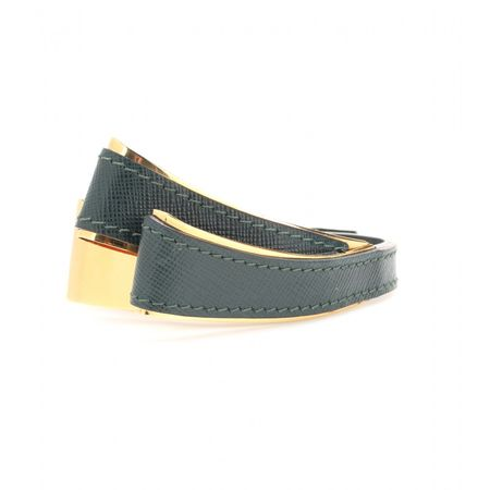 Marni Leather And Metal Bracelet gray