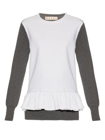 Marni Long-sleeved wool-blend crepe and knit top white