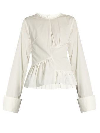 Marques'Almeida Asymmetric ruched-panel long-sleeved cotton shirt