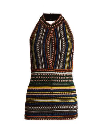 Missoni High-neck striped knit lamé top
