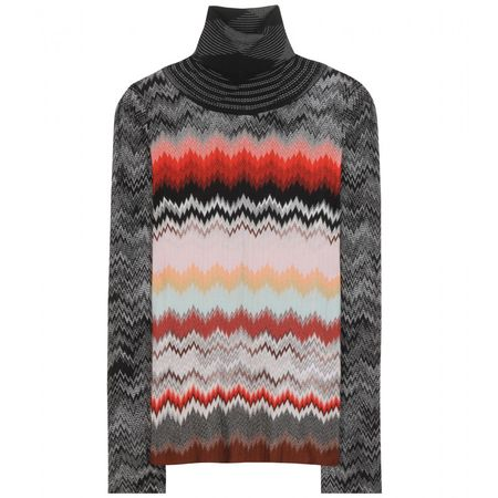 Missoni Knitted Wool-blend Turtleneck Sweater gray