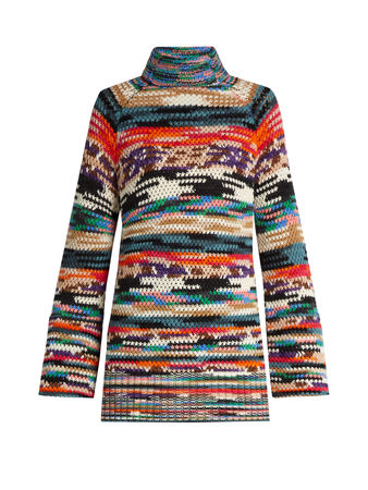 Missoni Roll-neck wool-blend mini dress