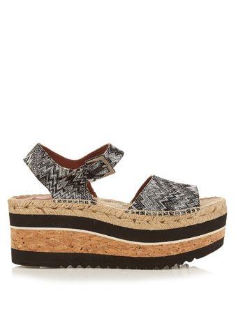 Missoni Zigzag espadrille flatform sandals brown