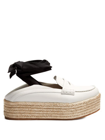 Miu Miu Leather espadrille flatform loafers