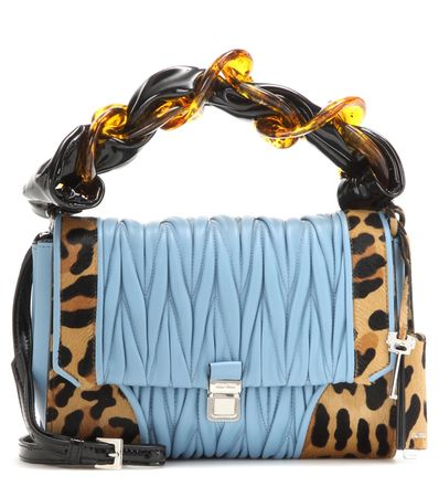 Miu Miu Matelassé Leather And Printed Calf Hair Shoulder Bag blue