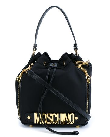 Moschino Nylon Bucket Bag black