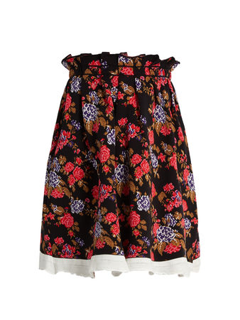 MSGM Floral-jacquard pleated skirt