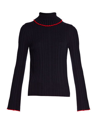 MSGM Roll-neck ribbed-knit wool sweater