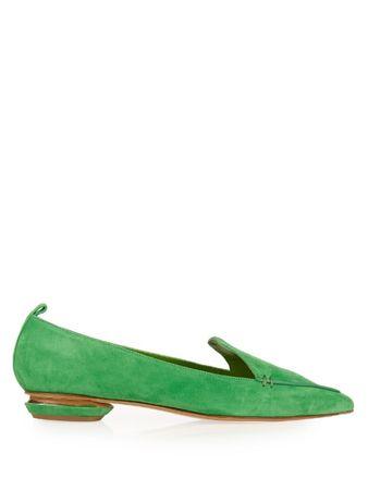 Nicholas Kirkwood Kelly suede Beya loafers green