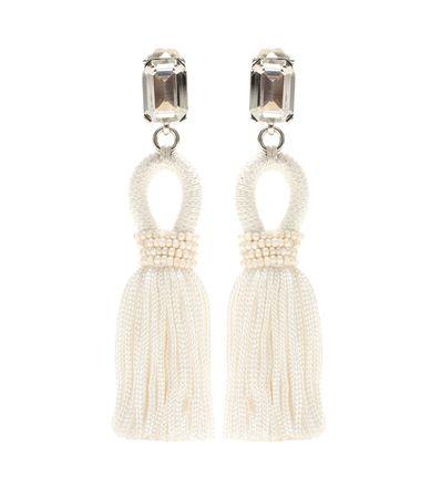 Oscar de la Renta Embellished Tassel Clip-on Earrings beige