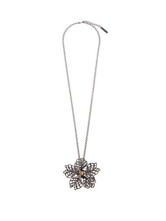 Oscar de la Renta Flower crystal-embellished necklace and brooch