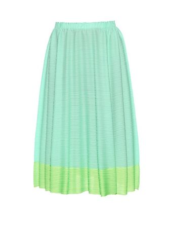 Pleats Please Issey Miyake Citrus Fruits pleated skirt green