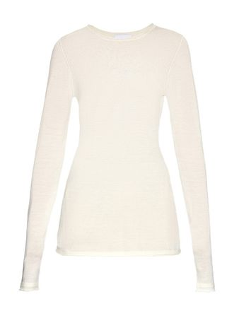 Raey Roll-edge fine-knit cashmere sweater white