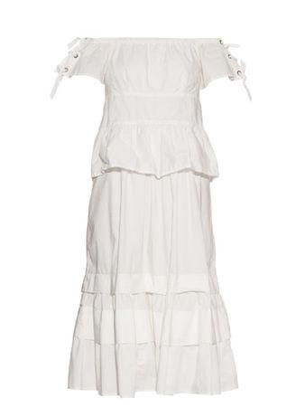 Rebecca Taylor Off-the-shoulder stretch cotton-blend dress white