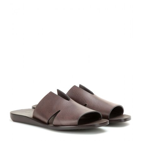 Rick Owens Large Notched Leather Sandals gray