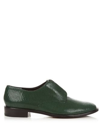Robert Clergerie Jamo lizard-effect leather slip-on shoes green