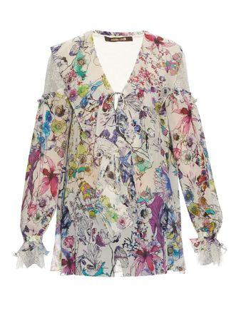 Roberto Cavalli Astro Garden-print silk-georgette blouse gray