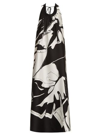 Roberto Cavalli Cotton and silk-blend jacquard gown black