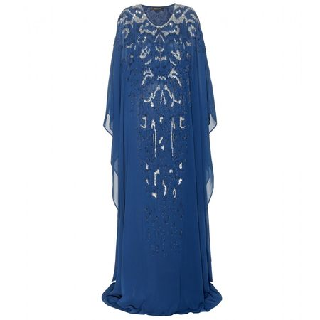 Roberto Cavalli Embellished Floor-length Silk Gown blue