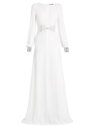 Roberto Cavalli Embellished-waist crepe gown