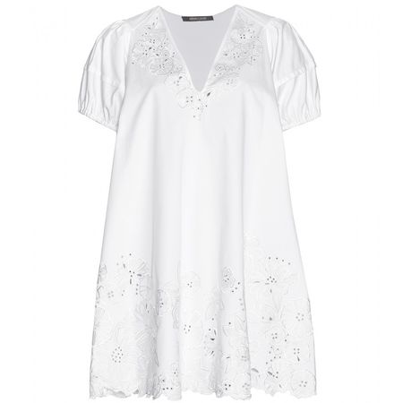 Roberto Cavalli Embroidered Cotton Dress white