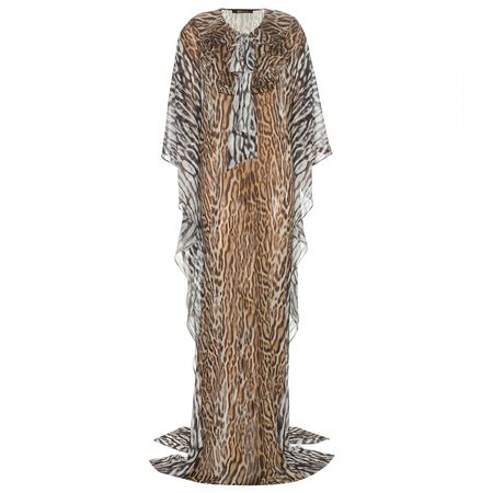 Roberto Cavalli Floor-length Leopard-print Silk Dress brown