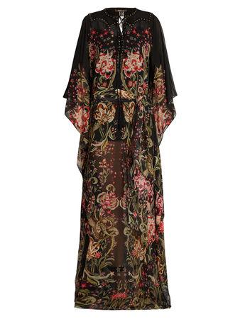Roberto Cavalli Galaxy Garden-print silk-georgette gown