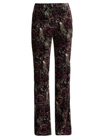 Roberto Cavalli Morris-print velvet trousers