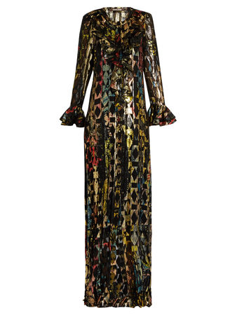 Roberto Cavalli Nymphae ruffle-trimmed fil coupé maxi dress