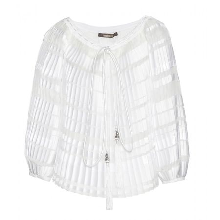 Roberto Cavalli Pleated Silk-blend Top white