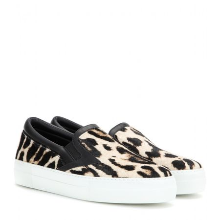 Roberto Cavalli Printed Calf Hair Slip-on Sneakers white