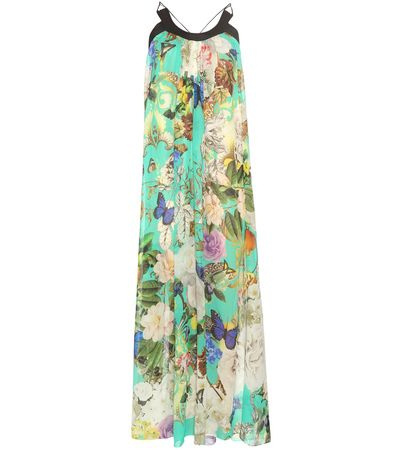 Roberto Cavalli Printed Silk Dress beige