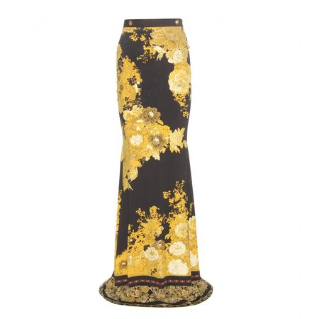 Roberto Cavalli Printed Stretch Skirt gray