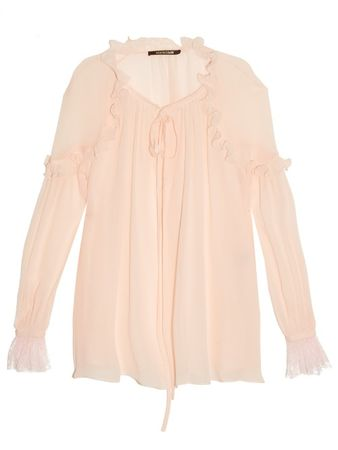 Roberto Cavalli Ruffle-trimmed silk-georgette blouse white