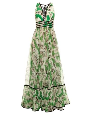 Roberto Cavalli Tropical floral-print silk gown gray