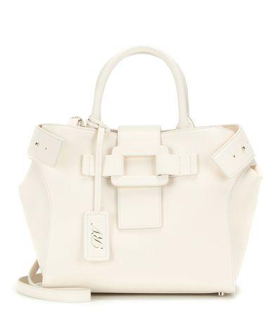 Roger Vivier Pilgrim De Jour Small Leather Shoulder Bag white
