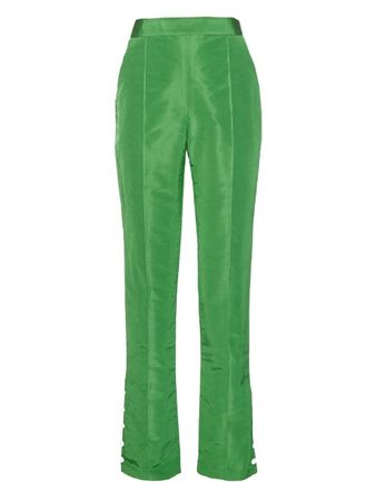 Rosie Assoulin Buttoned-cuffs silk trousers green