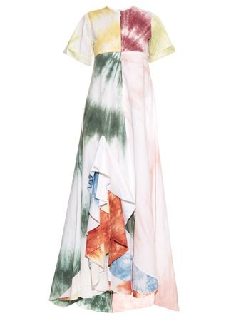 Rosie Assoulin Gonzo tie-dye ruffle maxi dress white